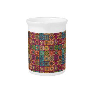 Vintage patchwork with floral mandala elements beverage pitcher