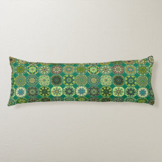 Vintage patchwork with floral mandala elements body pillow