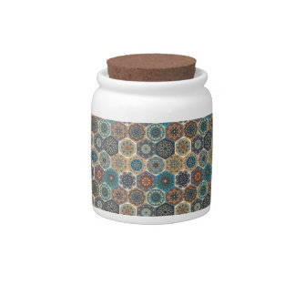 Vintage patchwork with floral mandala elements candy dishes