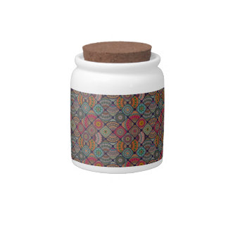 Vintage patchwork with floral mandala elements candy jar