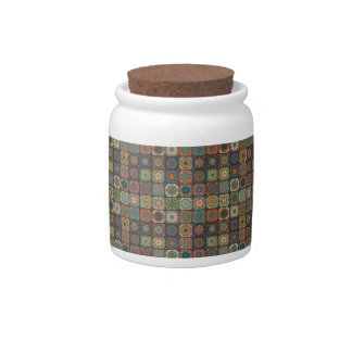 Vintage patchwork with floral mandala elements candy jar