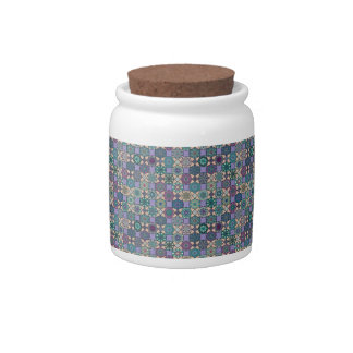 Vintage patchwork with floral mandala elements candy jars