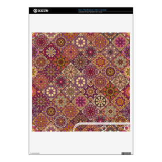 Vintage patchwork with floral mandala elements decal for the PS3 slim