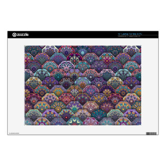 Vintage patchwork with floral mandala elements decals for laptops