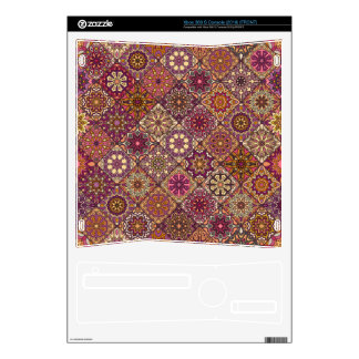 Vintage patchwork with floral mandala elements decals for the xbox 360 s