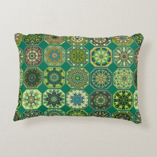 Vintage patchwork with floral mandala elements decorative pillow