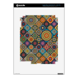 Vintage patchwork with floral mandala elements iPad 3 skins