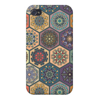 Vintage patchwork with floral mandala elements iPhone 4/4S case