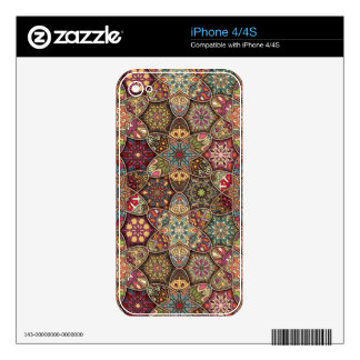 Vintage patchwork with floral mandala elements iPhone 4 decal