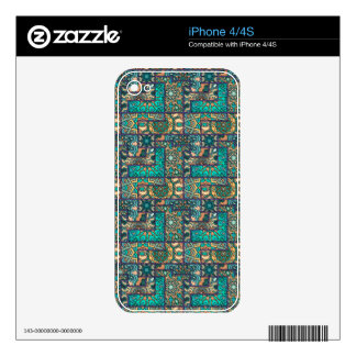 Vintage patchwork with floral mandala elements iPhone 4 skin