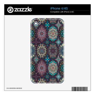 Vintage patchwork with floral mandala elements iPhone 4 skins
