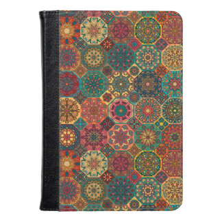 Vintage patchwork with floral mandala elements kindle case