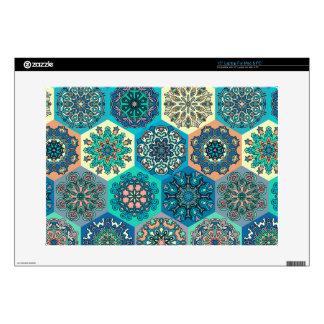 Vintage patchwork with floral mandala elements laptop skins