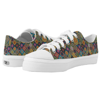 Vintage patchwork with floral mandala elements Low-Top sneakers