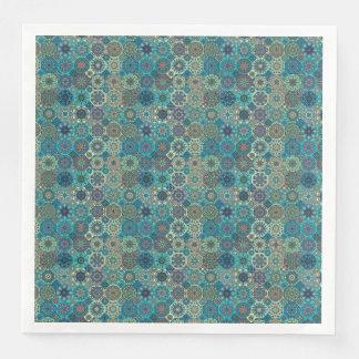 Vintage patchwork with floral mandala elements paper dinner napkin