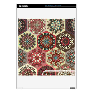 Vintage patchwork with floral mandala elements PS3 slim console decal