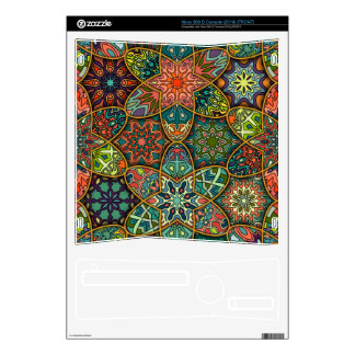 Vintage patchwork with floral mandala elements skin for the xbox 360 s