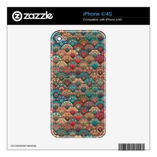 Vintage patchwork with floral mandala elements skins for iPhone 4