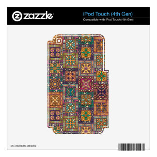 Vintage patchwork with floral mandala elements skins for iPod touch 4G