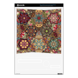 Vintage patchwork with floral mandala elements skins for the xbox 360 s