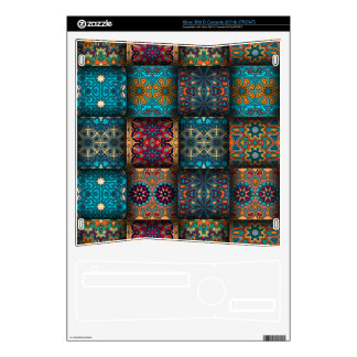 Vintage patchwork with floral mandala elements skins for xbox 360 s