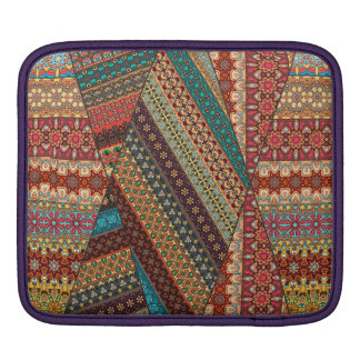 Vintage patchwork with floral mandala elements sleeve for iPads