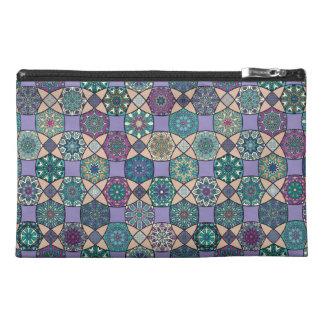 Vintage patchwork with floral mandala elements travel accessory bag