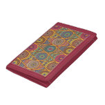 Vintage patchwork with floral mandala elements trifold wallets
