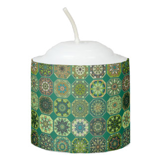 Vintage patchwork with floral mandala elements votive candle