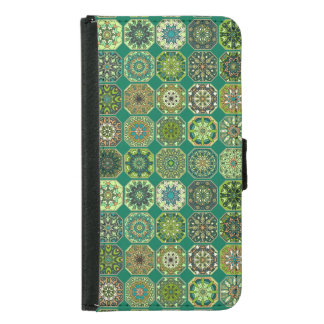 Vintage patchwork with floral mandala elements wallet phone case for samsung galaxy s5