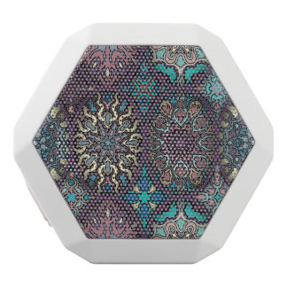 Vintage patchwork with floral mandala elements white bluetooth speaker