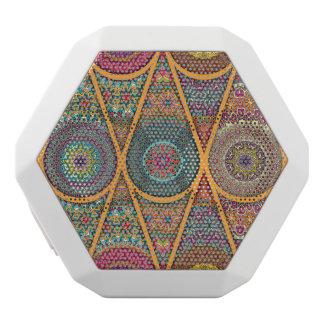 Vintage patchwork with floral mandala elements white bluetooth speaker