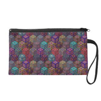 Vintage patchwork with floral mandala elements wristlet purse
