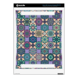 Vintage patchwork with floral mandala elements xbox 360 console decal
