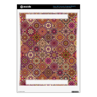Vintage patchwork with floral mandala elements xbox 360 decals