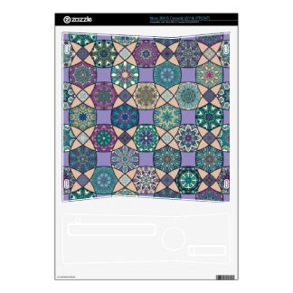 Vintage patchwork with floral mandala elements xbox 360 s console skin