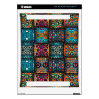 Vintage patchwork with floral mandala elements xbox 360 skin