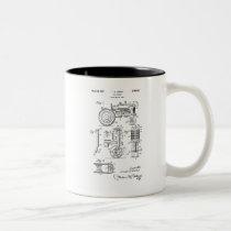 Vintage Patent Print 1957 Toy Farm Tractor Two-Tone Coffee Mug