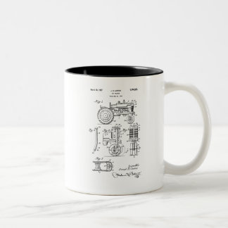 Vintage Patent Print 1957 Toy Farm Tractor Two-Tone Coffee Mug
