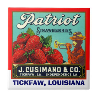 Vintage Patriot Strawberry Tickfaw LA Label Tile