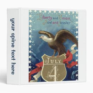 Vintage Patriotic 4th of July, Eagle with Stars 3 Ring Binders
