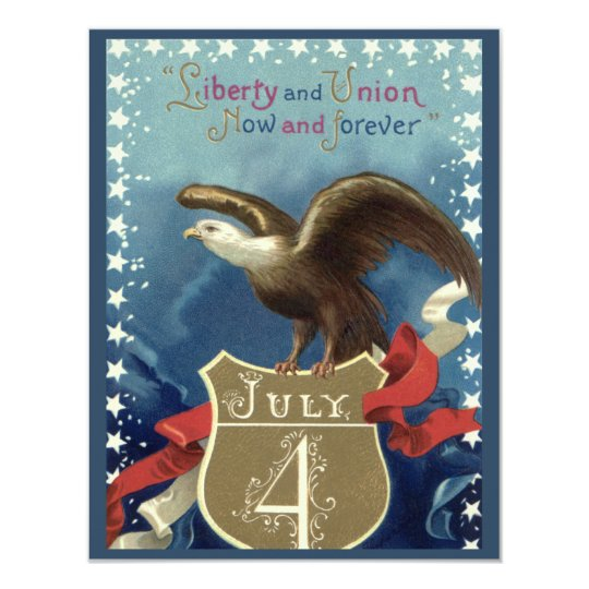Vintage Patriotic 4th of July, Eagle with Stars Card