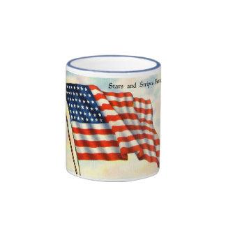 Vintage Patriotic 4th of July Ringer Coffee Mug