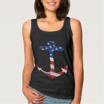 Vintage Patriotic American Flag Anchor Nautical Tank Top