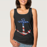 Vintage Patriotic American Flag Anchor Nautical Basic Tank Top
