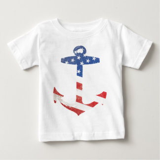 Vintage Patriotic American Flag Anchor Nautical US Baby T-Shirt