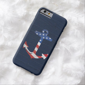 Vintage Patriotic American Flag Anchor Nautical US Barely There iPhone 6 Case