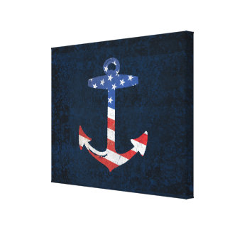 Vintage Patriotic American Flag Anchor Nautical US Canvas Print