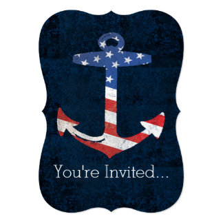 Vintage Patriotic American Flag Anchor Nautical US Card