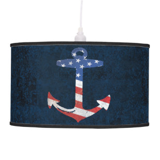 Vintage Patriotic American Flag Anchor Nautical US Pendant Lamp